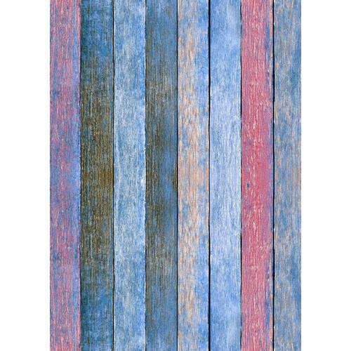 Westcott Rustic Wood Art Canvas Backdrop with Grommets (5 x 7', Bold Blue)