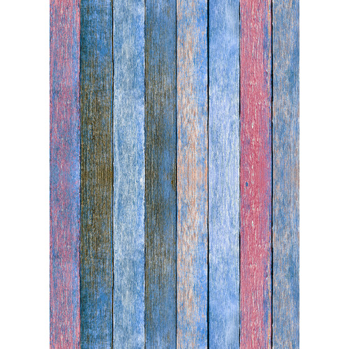 Westcott Rustic Wood Matte Vinyl Backdrop with Grommets (5 x 7', Bold Blue)