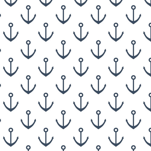 Westcott Anchors Pattern Art Canvas Backdrop with Hook-and-Loop Attachment (3.5 x 3.5', Blue)