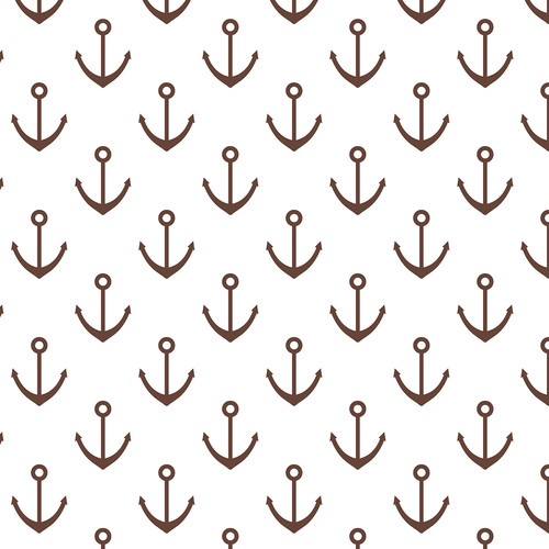 Westcott Anchors Pattern Matte Vinyl Backdrop with Hook-and-Loop Attachment (3.5 x 3.5', Brown)