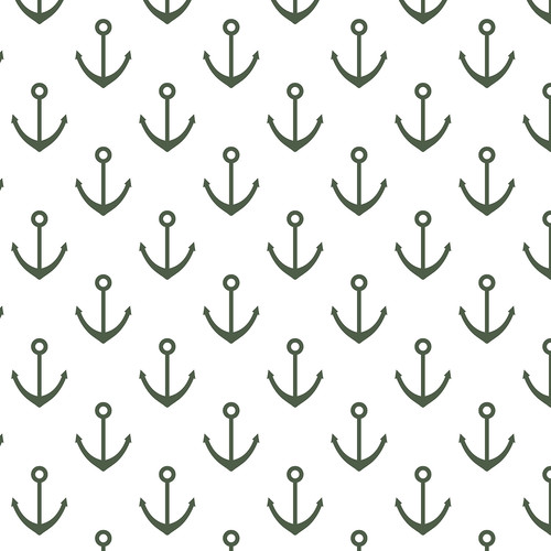 Westcott Anchors Pattern Matte Vinyl Backdrop with Hook-and-Loop Attachment (3.5 x 3.5', Green)