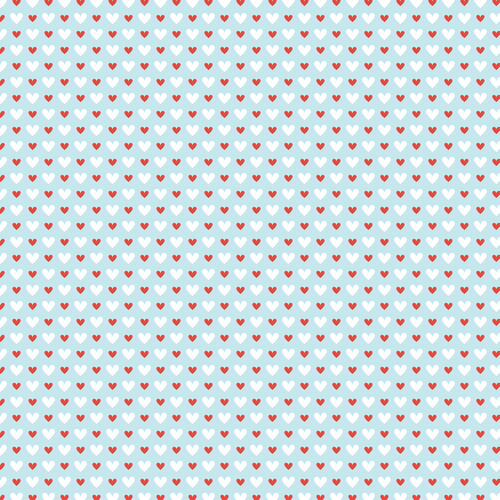 Westcott Hearts Art Canvas Backdrop with Hook-and-Loop Attachment (3.5 x 3.5', Red and White Pattern, Sky Blue Background)