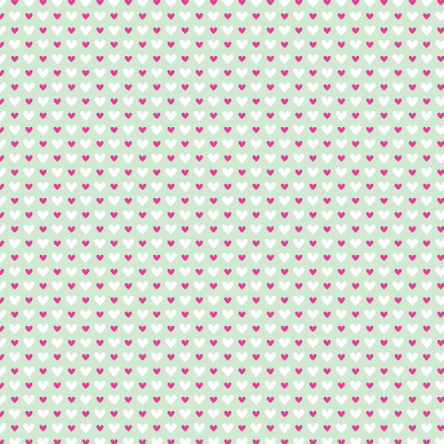 Westcott Hearts Art Canvas Backdrop with Hook-and-Loop Attachment (3.5 x 3.5', Red and White Pattern, Green Background)
