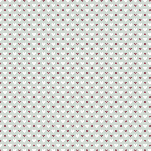 Westcott Hearts Art Canvas Backdrop with Hook-and-Loop Attachment (3.5 x 3.5', Red and White Pattern, Sage Background)