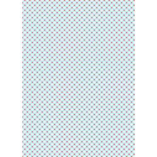 Westcott Hearts Art Canvas Backdrop with Grommets (5 x 7', Red and White Pattern, Sky Blue Background)