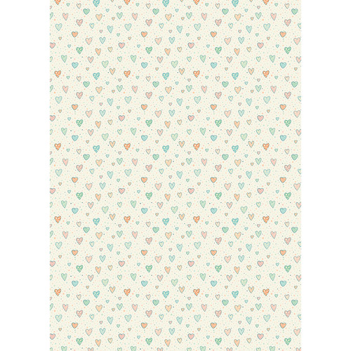 Westcott Sketched Hearts Matte Vinyl Backdrop with Grommets (5 x 7', Multi-Color)