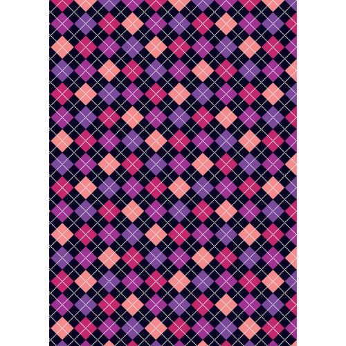 Westcott Diamond Plaid Art Canvas Backdrop with Grommets (5 x 7', Purple)