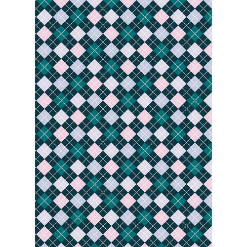 Westcott Diamond Plaid Matte Vinyl Backdrop with Grommets (5 x 7', Turquoise)