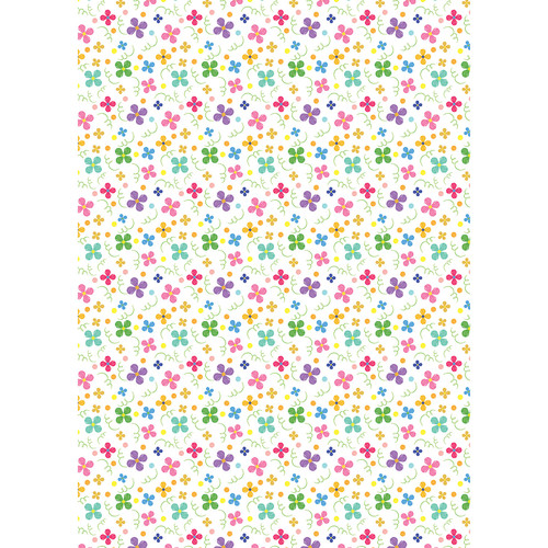 Westcott Bright Playful Posies Art Canvas Backdrop with Grommets (5 x 7', Multi-Color)