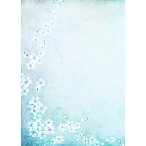 Westcott Floral Watercolor Art Canvas Backdrop with Grommets (5 x 7', Turquoise)