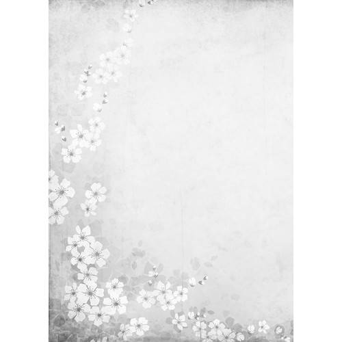 Westcott Floral Watercolor Art Canvas Backdrop with Grommets (5 x 7', Gray)