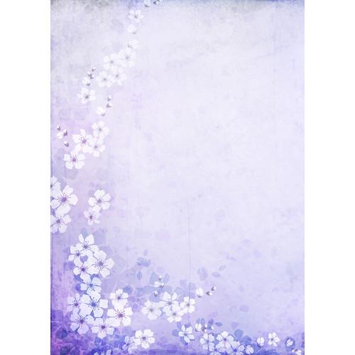 Westcott Floral Watercolor Art Canvas Backdrop with Grommets (5 x 7', Purple)