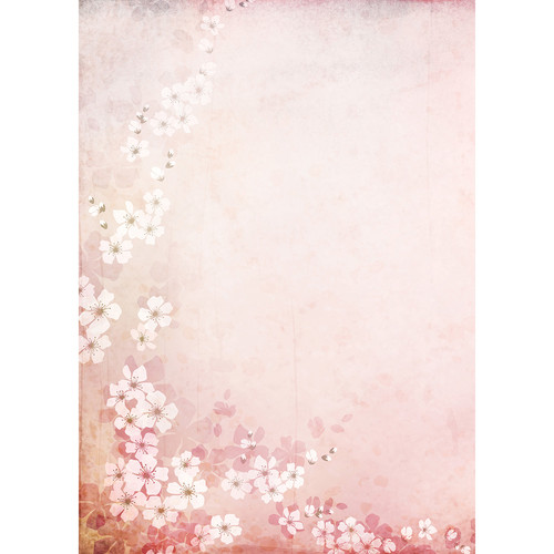 Westcott Floral Watercolor Art Canvas Backdrop with Grommets (5 x 7', Red)