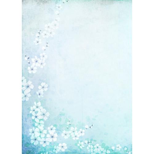Westcott Floral Watercolor Matte Vinyl Backdrop with Grommets (5 x 7', Turquoise)