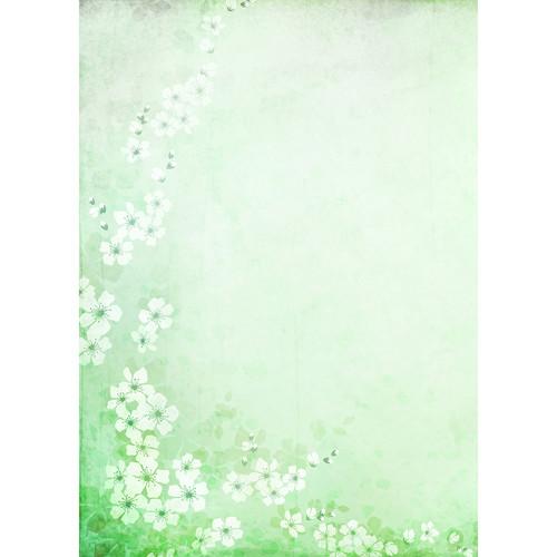 Westcott Floral Watercolor Matte Vinyl Backdrop with Grommets (5 x 7', Green)