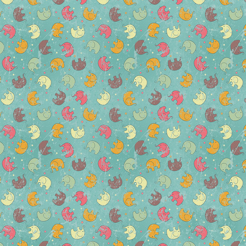 Westcott Tiny Elephants Matte Vinyl Backdrop with Hook-and-Loop Attachment (3.5 x 3.5', Multi-Color)