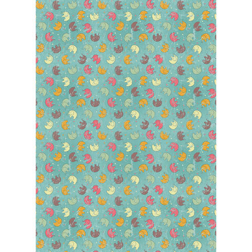 Westcott Tiny Elephants Art Canvas Backdrop with Grommets (5 x 7', Multi-Color)
