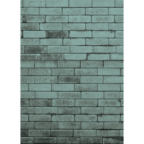 Westcott Brick Wall Art Canvas Backdrop with Hook-and-Loop Attachment (5 x 7', Turquoise)