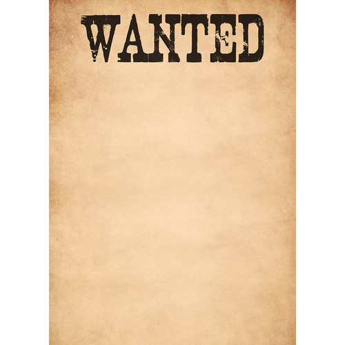 Westcott Wanted Poster Matte Vinyl Backdrop with Grommets (5 x 7', Multi-Color)