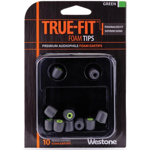Westone True-Fit Foam Eartips (10-Pack, Green)