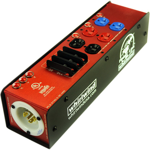 Whirlwind Power Link PL2 Stringer with L2130 Inlet and Outlet, Six PowerCon 20A Outlets & Three 20A Circuit Breakers