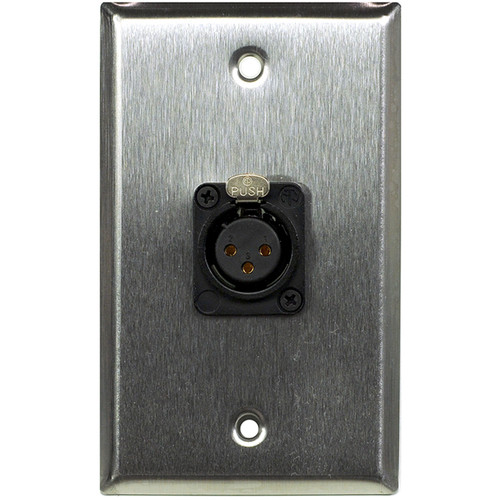 Whirlwind WP1/1FNS 1-Gang Wall Plate with 1 Neutrik Female XLR Screw Terminal (Stainless Steel Finish)