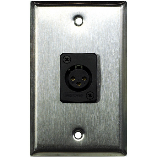 Whirlwind WP1/1FW 1-Gang Wall Plate with 1 Whirlwind WC3F Female XLR Terminal (Stainless Steel Finish)