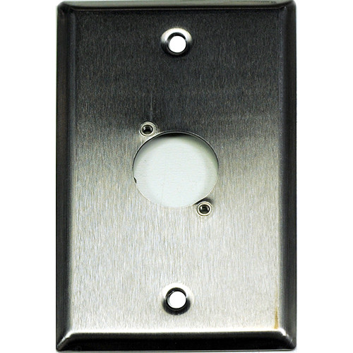 Whirlwind WP1/1H 1-Gang Wall Plate Punched for 1 Whirlwind/Switchcraft D3F Terminal (Stainless Steel Finish)