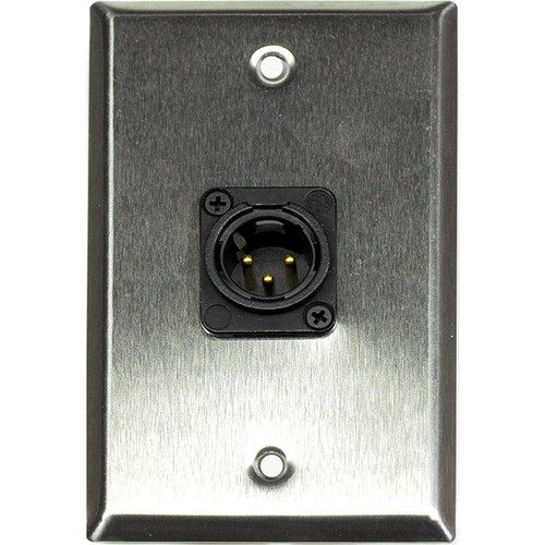 Whirlwind 1-Gang Wall Mounting Plate with 1 Neutrik Male XLR, Screw Terminals (Stainless Steel Finish)