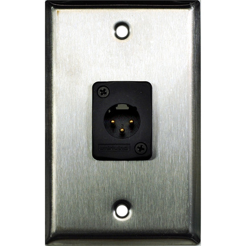 Whirlwind WP1/1MW 1-Gang Wall Plate with 1 Whirlwind WC3M Male XLR Terminal (Stainless Steel Finish)