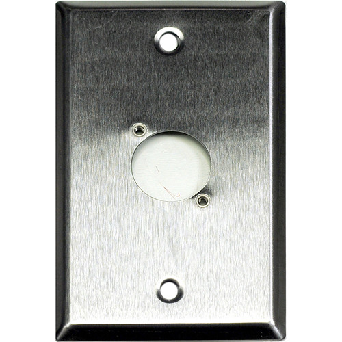 Whirlwind 1-Gang Wall Mounting Plate Punched for 1 Neutrik XLR (Stainless Steel Finish)