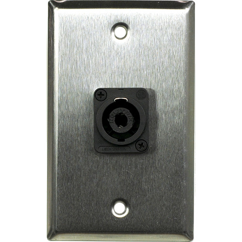 Whirlwind 1-Gang Wall Mounting Plate with 1 Neutrik NL4 Speakon (Stainless Steel Finish)
