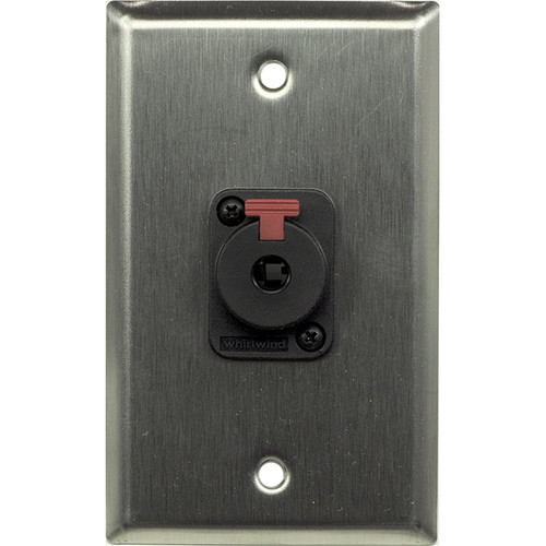 "Whirlwind 1-Gang Wall Mounting Plate with 1 Whirlwind WCQF 1/4"" Jack (Stainless Steel Finish)"