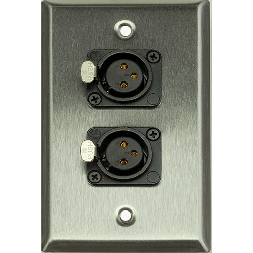 Whirlwind WP1/2FNS 1-Gang Wall Plate with 2 Neutrik Female XLR Screw Terminals (Stainless Steel Finish)