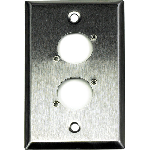 Whirlwind WP1/2H 1-Gang Wall Plate Punched for 2 Whirlwind/Switchcraft D3F Terminals (Stainless Steel Finish)