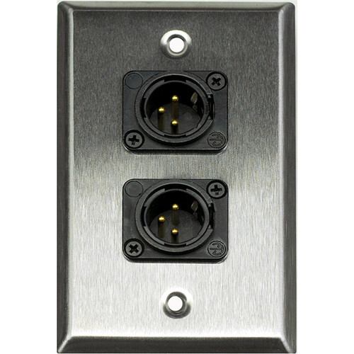 Whirlwind 1-Gang Wall Mounting Plate with 2 Neutrik Male XLRs, Screw Terminals (Stainless Steel Finish)
