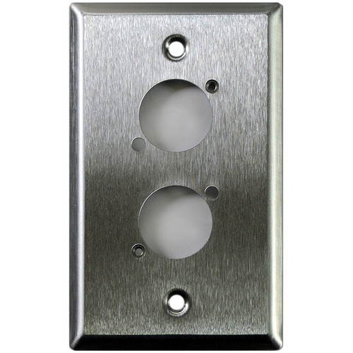 Whirlwind 1-Gang Wall Mounting Plate Punched for 2 Neutrik XLRs (Stainless Steel Finish)