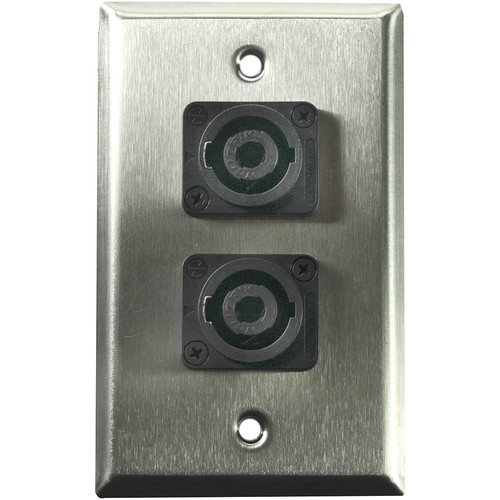 Whirlwind 1-Gang Wall Mounting Plate with 2 Neutrik NL4 Speakons (Stainless Steel Finish)