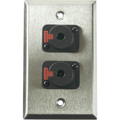 "Whirlwind 1-Gang Wall Mounting Plate with 2 Whirlwind WCQF 1/4"" Jacks (Stainless Steel Finish)"