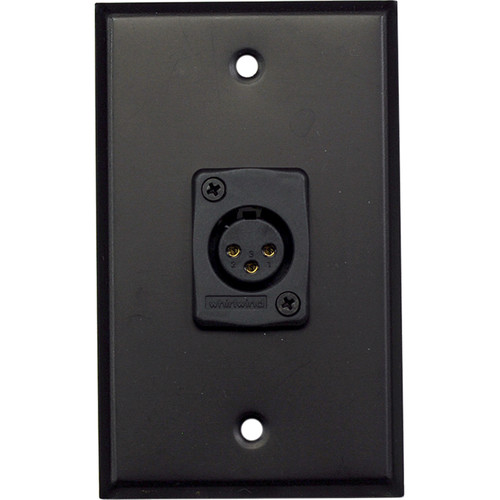 Whirlwind WP1B/1FW 1-Gang Wall Plate with 1 Whirlwind WC3F Female XLR Terminal (Black Finish)