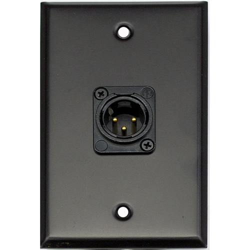Whirlwind WP1B/1MNS 1-Gang Wall Plate with 1 Neutrik Male XLR Screw Terminal (Black Finish)