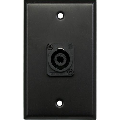 Whirlwind WP1B/1NL4 1-Gang Wall Plate with 1 Neutrik NL4 Speakon Terminal (Black Finish)