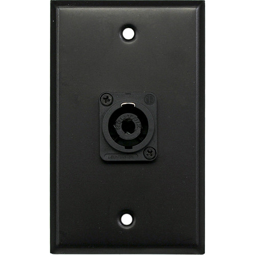 Whirlwind 1-Gang Wall Mounting Plate with 1 Neutrik NL4 Speakon (Black Finish)