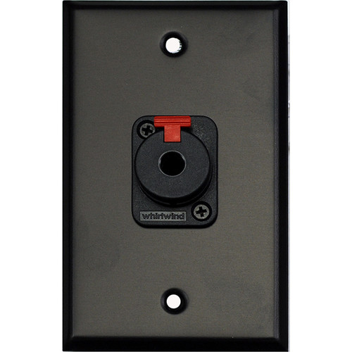 """Whirlwind WP1B/1QW 1-Gang Wall Plate with 1 Whirlwind WCQF 1/4"""" Terminal (Black Finish)"""
