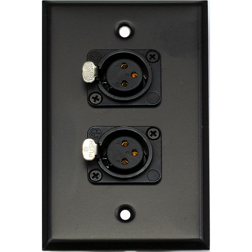 Whirlwind WP1B/2FNS 1-Gang Wall Plate with 2 Neutrik Female XLR Screw Terminals (Black Finish)