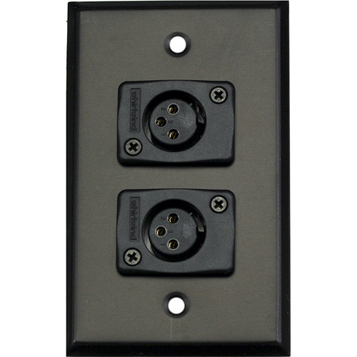 Whirlwind 1-Gang Wall Mounting Plate with 2 Whirlwind WC3F Female XLRs (Black Finish)
