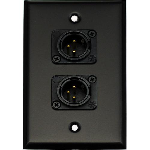 Whirlwind WP1B/2MNS 1-Gang Wall Plate with 2 Neutrik Male XLR Screw Terminals (Black Finish)