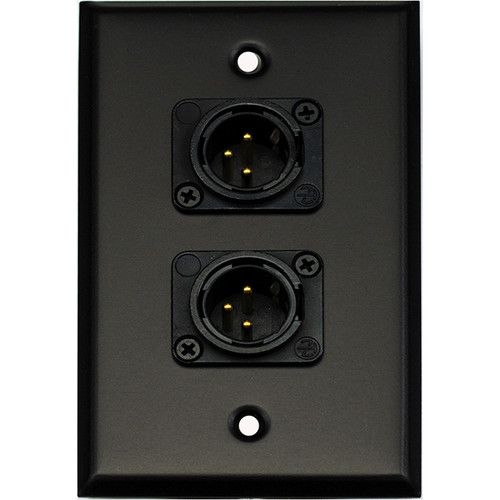 Whirlwind 1-Gang Wall Mounting Plate with 2 Neutrik Male XLRs, Screw Terminals (Black Finish)