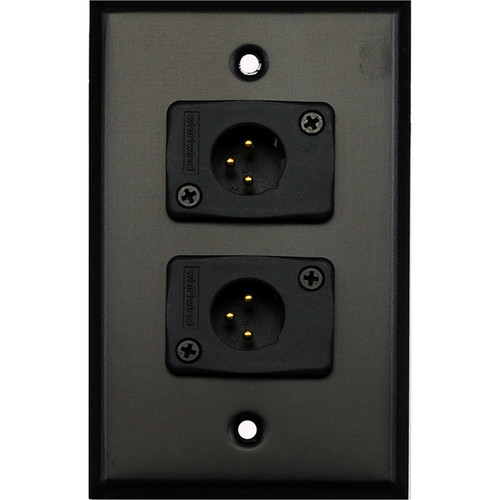 Whirlwind 1-Gang Wall Mounting Plate with 2 Whirlwind WC3M Male XLRs (Black Finish)