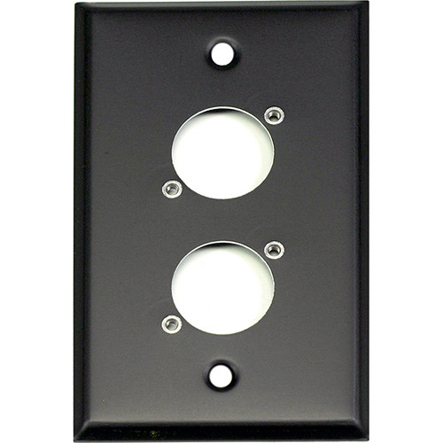 Whirlwind WP1B/2NDH 1-Gang Wall Plate Punched for 2 Neutrik XLR Terminals (Black Finish)